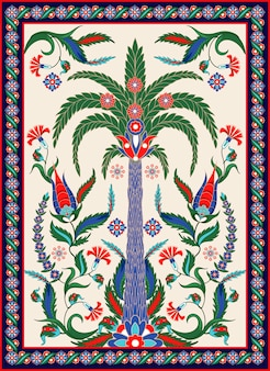 Turkish and arabic ornament elements such us palm, flowers and paisley.