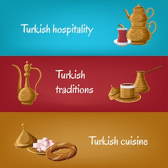 Turkish banners with teapot
