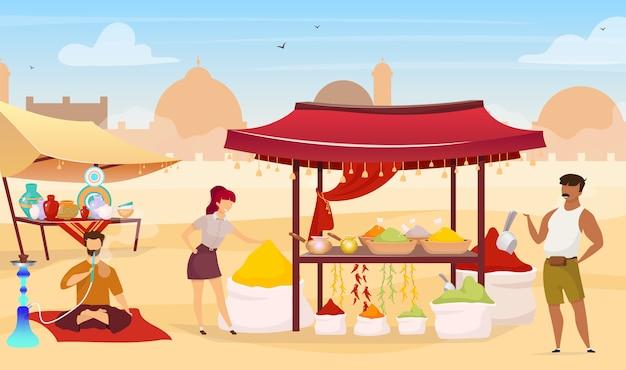 Турецкий базар плоская цветная иллюстрация