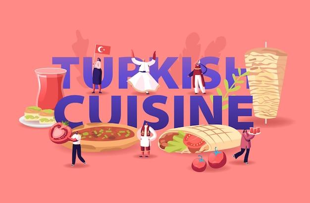 터키 요리 개념. 만화 평면 그림