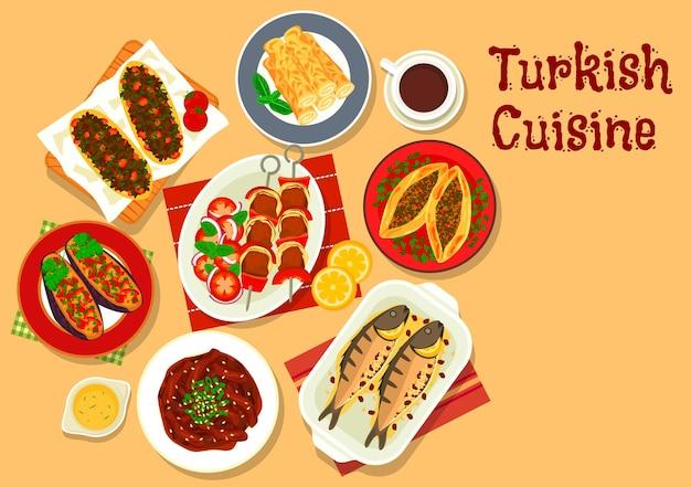 Turkish cuisine shish kebab skewer  with stuffed eggplant