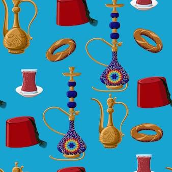 トルコ文化遺産のシームレスなパターン。