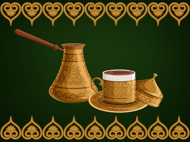 Turkish decorated copper cezve and cup of coffee.