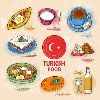 Turkish delicacy dishes in hand drawn style