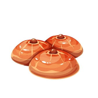 Turkish dessert sekerpare. cakes with almond and sherbet syrup vector illustration.