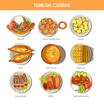 Turkish food cuisine vector icons for restaurant menu.