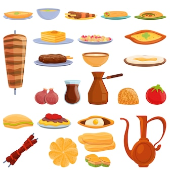 Turkish food icons set. cartoon set of turkish food  icons for web