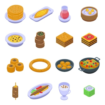 Turkish food icons set. isometric set of turkish food  icons for web  isolated on white background