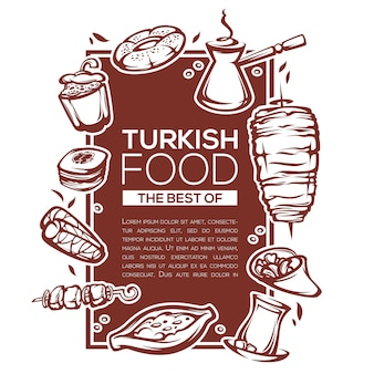 Turkish food, linear template design for your menu