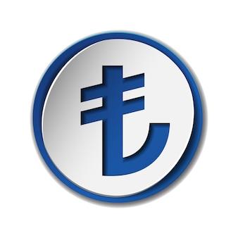 Символ валюты турецкой лиры на круглой наклейке с синим фоном. tl знак денежная единица. финансовая, деловая и инвестиционная концепция. иллюстрация