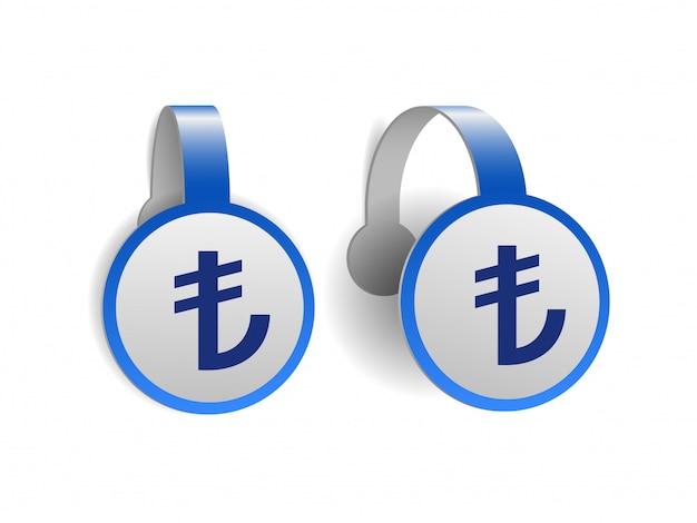Символ турецкой лиры на синих рекламных воблерах. знака валюты турции на этикетке. символ денежной единицы. иллюстрация на белом фоне