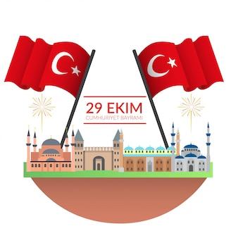 Turkish national day illustration