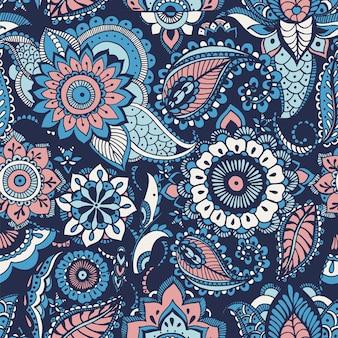 파란색 배경에 부타 모티프와 아랍 꽃 멘디 요소가 있는 터키 페이즐리 매끄러운 패턴입니다. 직물 인쇄, 벽지, 포장지, 배경을 위한 화려한 장식 벡터 삽화.