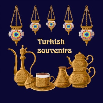 Turkish souvenirs card with lanterns