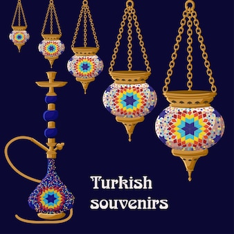 Turkish traditional ceramic souvenirs lanterns and hookah.