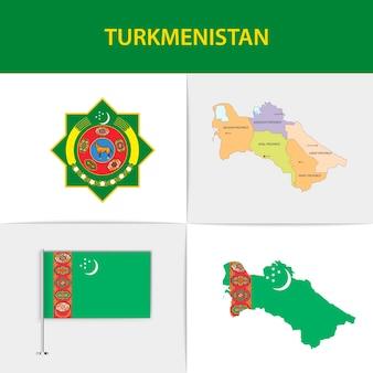 투르크 메니스탄 국기지도 및 국장
