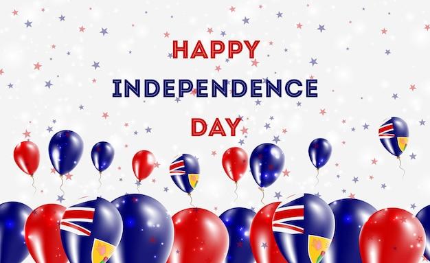 터크스케이커스 제도 독립 기념일 애국 디자인. 터크스케이커스 섬 주민 내셔널 컬러의 풍선. 행복 한 독립 기념일 벡터 인사말 카드입니다.