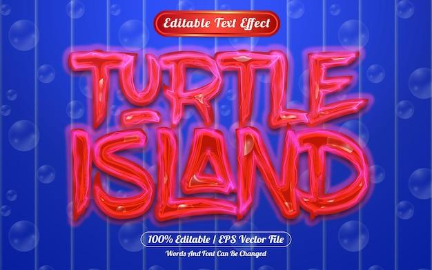 Turle island 편집 가능한 텍스트 효과 조명 및 거품 테마