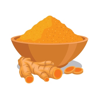 Turmeric powder in the bowl with turmeric illustration
