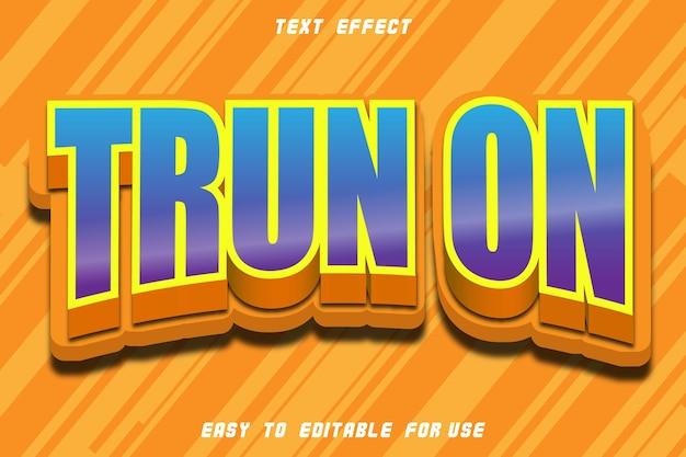 Turn on editable text effect emboss comic style