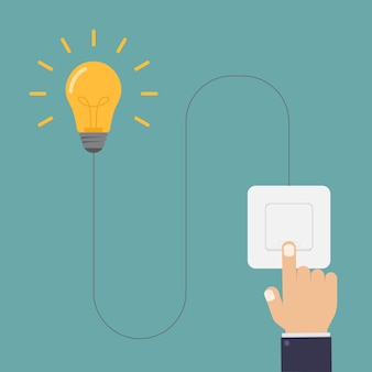 Turn on the lights with light switch design illustration