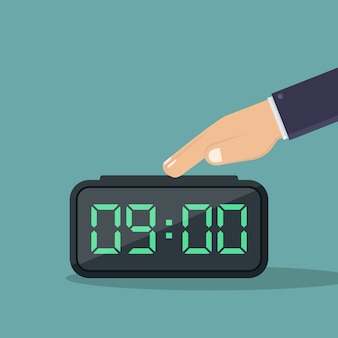 Turn off digital alarm clock flat design  illustration