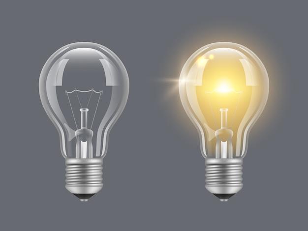 電球をオンにします。明るくリアルな透明電球の明るいランプの写真