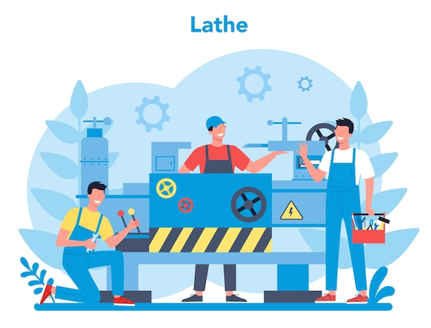 Turner or lathe concept. factory worker using turning machine to make metal detail. metalworking and industrial manufacturing. isolated flat vector illustration