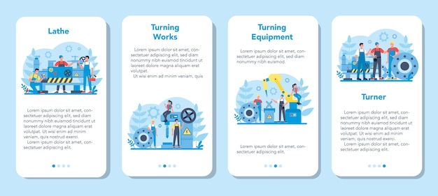 Turner or lathe mobile application banner set. factory worker using turning machine to make metal detail. metalworking and industrial manufacturing.