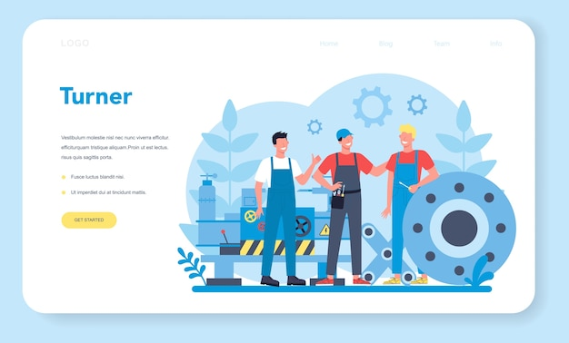 Turner or lathe web banner or landing page