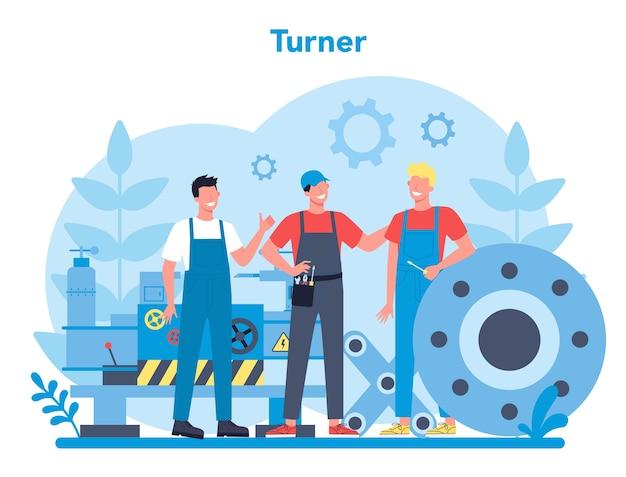 터너 또는 선반 개념. 선반 기계를 사용하여 금속 세부 사항을 만드는 공장 노동자. 금속 가공 및 산업 제조. 격리 된 평면 벡터 일러스트 레이 션
