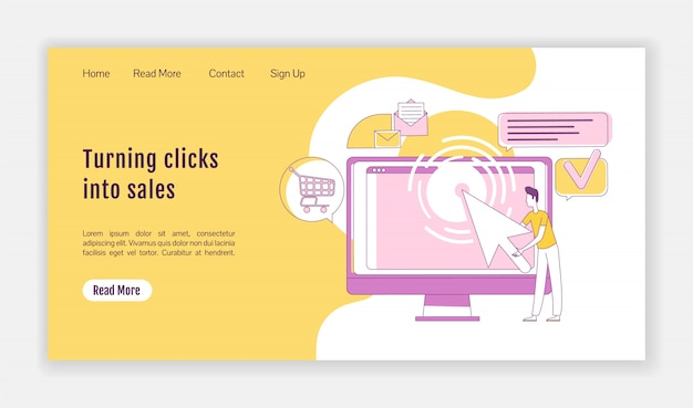 Turning clicks into sales landing page  silhouette  template. ppc marketing homepage layout. one page website interface with cartoon outline character. traffic generation web banner, webpage