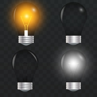 Turning on and off realistic light bulb. design template, clipart. glowing incandescent filament lamps. creativity idea, business innovation concept