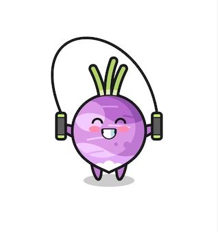 Turnip character cartoon with skipping rope , cute style design for t shirt, sticker, logo element