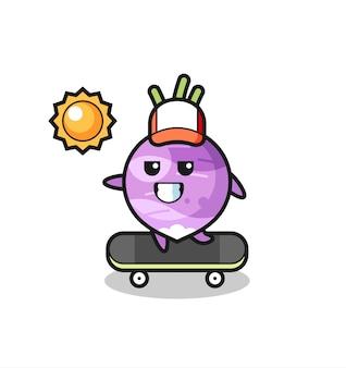 순무 캐릭터 그림은 스케이트보드를 타고, 티셔츠, 스티커, 로고 요소를 위한 귀여운 스타일 디자인