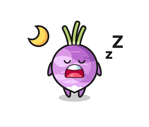 夜寝るカブのキャラクターイラスト、tシャツ、ステッカー、ロゴ要素のかわいいスタイルのデザイン