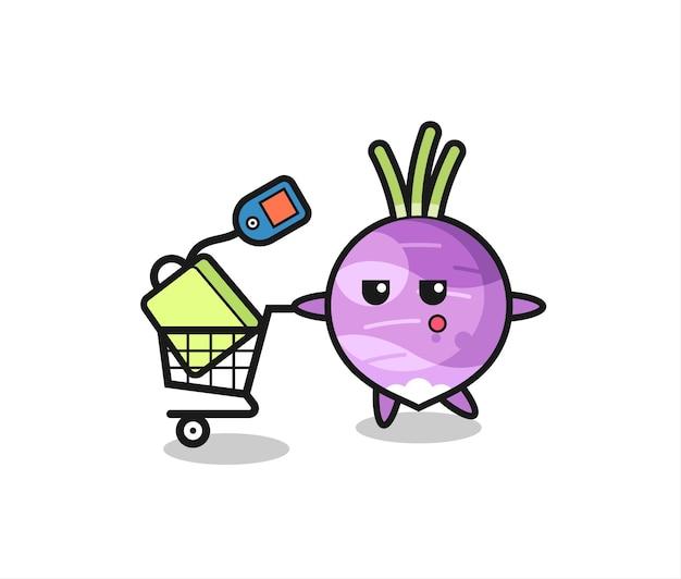 쇼핑 카트가 있는 순무 그림 만화, 티셔츠, 스티커, 로고 요소를 위한 귀여운 스타일 디자인