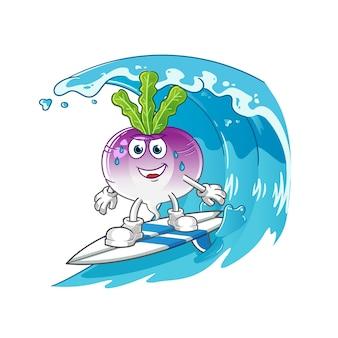 波のキャラクターでカブサーフィン
