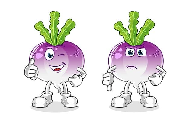 Turnip thumbs up and thumbs down cartoon