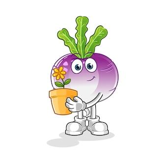 Репа с иллюстрацией цветочного горшка