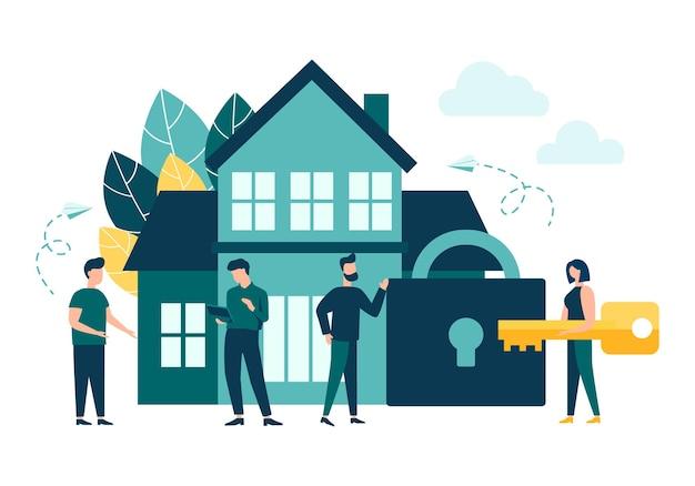 턴키 부동산 및 임대 주택 구매 보안 및 안전 벡터 격리 된 배경
