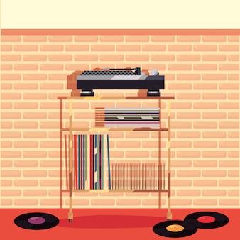 Turntable playing vinyl furniture