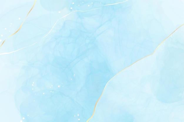 ターコイズとティールブルーの液体の水彩画の背景と金色のキラキラライン
