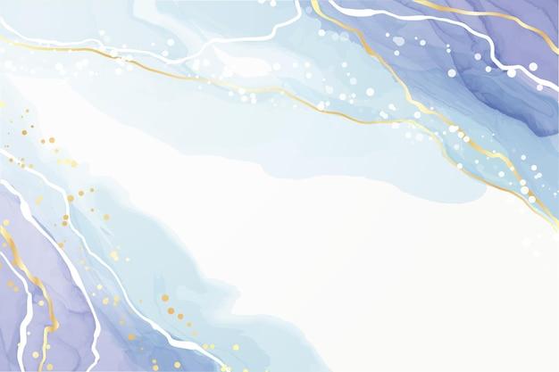 金色のキラキララインとターコイズとティールブルーの液体水彩背景