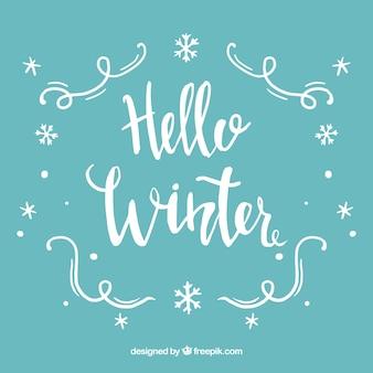 청록색 배경 안녕하세요 겨울