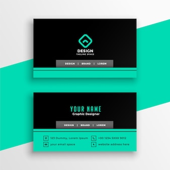 Turquoise and black professional business card design template