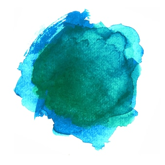 Turquoise blue green watercolor abstract badge shape