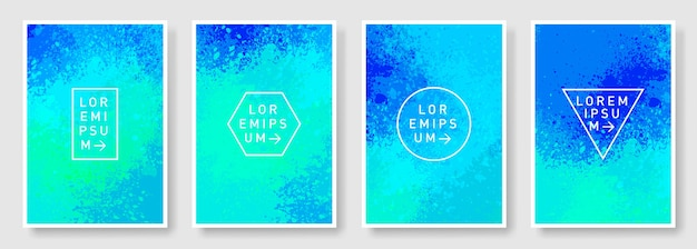 Turquoise blue watercolor texture background set