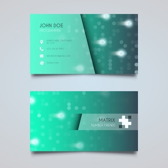 Turquoise business card with lights