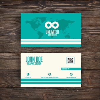 Turquoise business card with a map